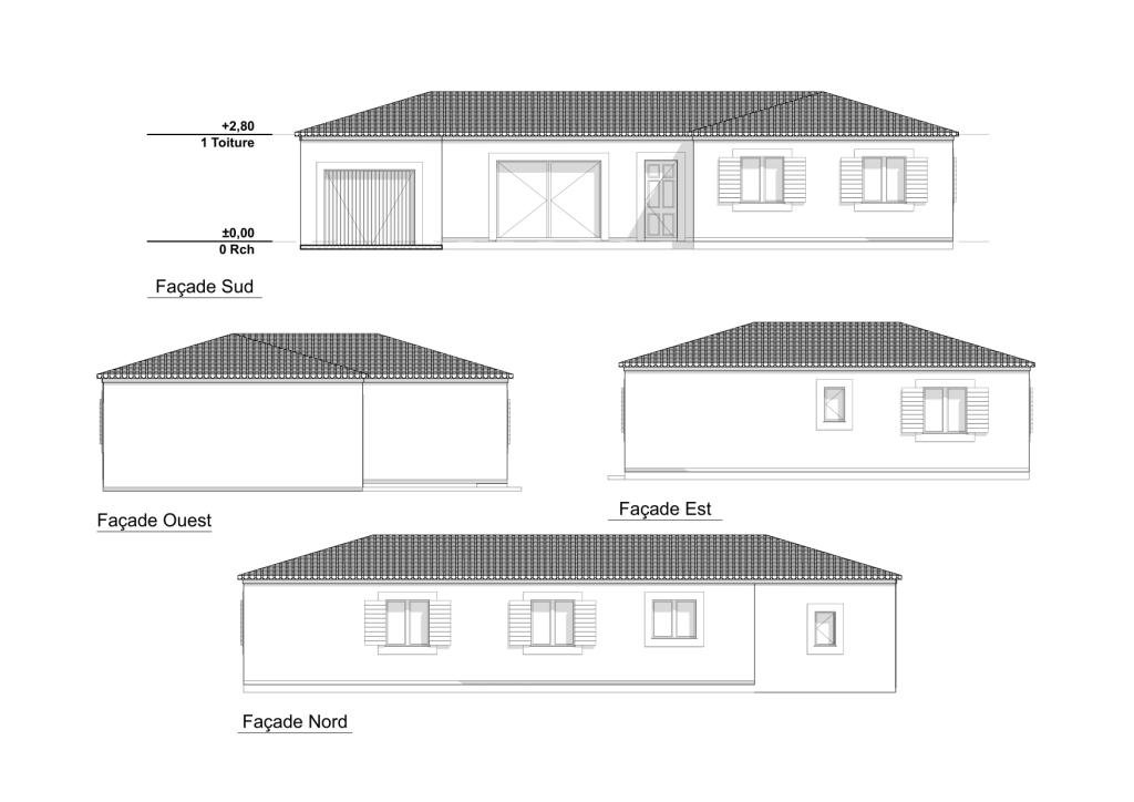 Plan permis de construire - Plan des facades et des toitures ...